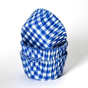 HoM Baking Cups Boerenbont ruit blauw