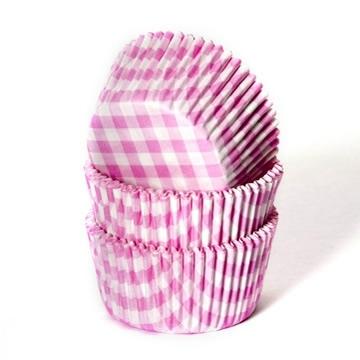 HoM Baking Cups Boerenbont ruit roze