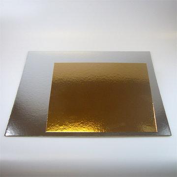 Taartkartons Vierkant zilver/goud 25 x 25 cm